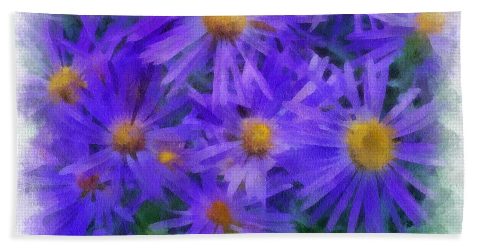 Blue Bath Sheet featuring the digital art Blue Asters - Watercolor by Charles Muhle