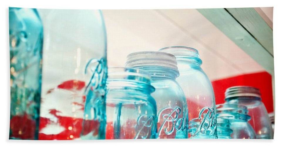 Interior Design Hand Towel featuring the photograph Blue Ball Canning Jars by Paulette B Wright