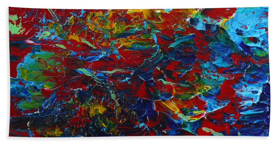 Bold Abstract Hand Towel featuring the painting Blue Bloods by Donna Blackhall
