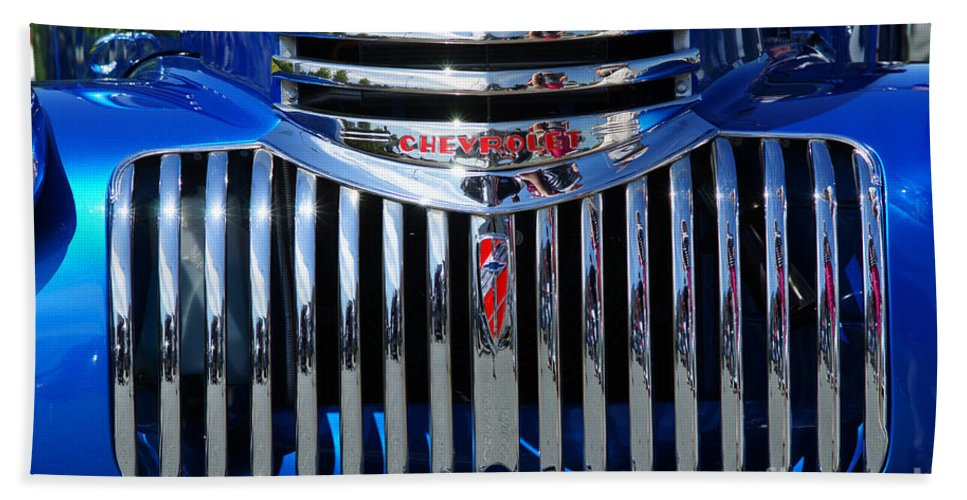Custom Cars Bath Sheet featuring the photograph Blue Chevy Pick-up Grill by Randy Harris
