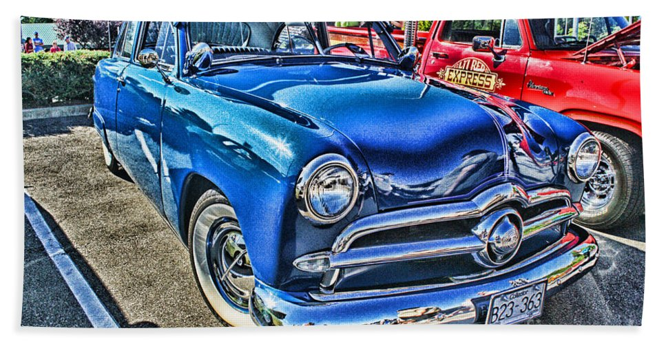 Cars Hand Towel featuring the photograph Blue Classic Hdr by Randy Harris
