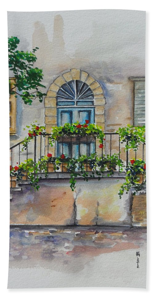 Old Bath Sheet featuring the painting Blue Door by Shirley Heyn