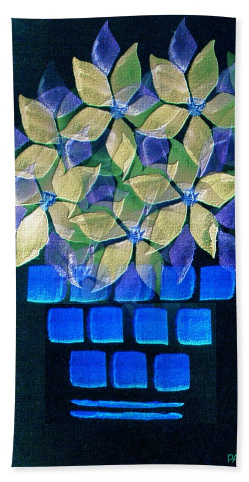 Paula Ayers Bath Sheet featuring the mixed media Blue Flower Pot by Paula Ayers