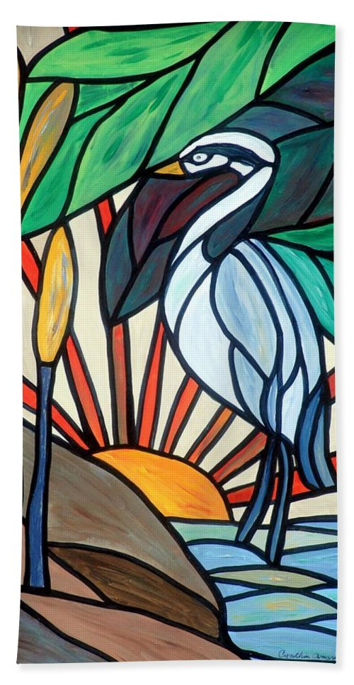Mosaic Bath Sheet featuring the painting Blue Heron by Cynthia Amaral
