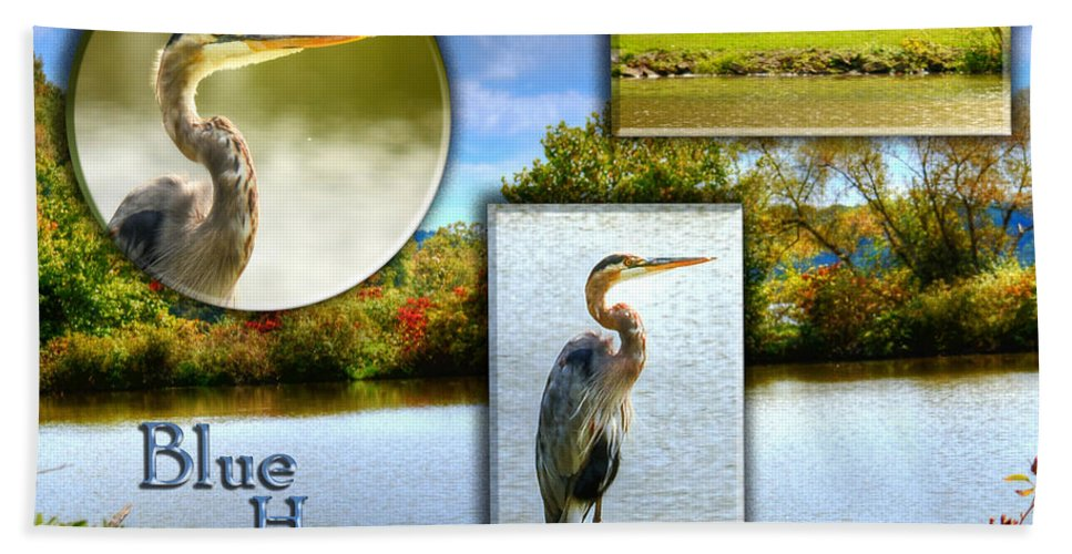 Lake Hand Towel featuring the photograph Blue Heron Pose by Shirley Tinkham