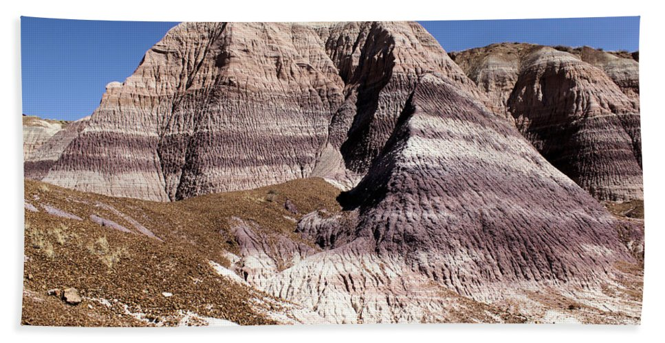 Petrified Forest National Park Bath Sheet featuring the photograph Blue Mesa Castle by Adam Jewell