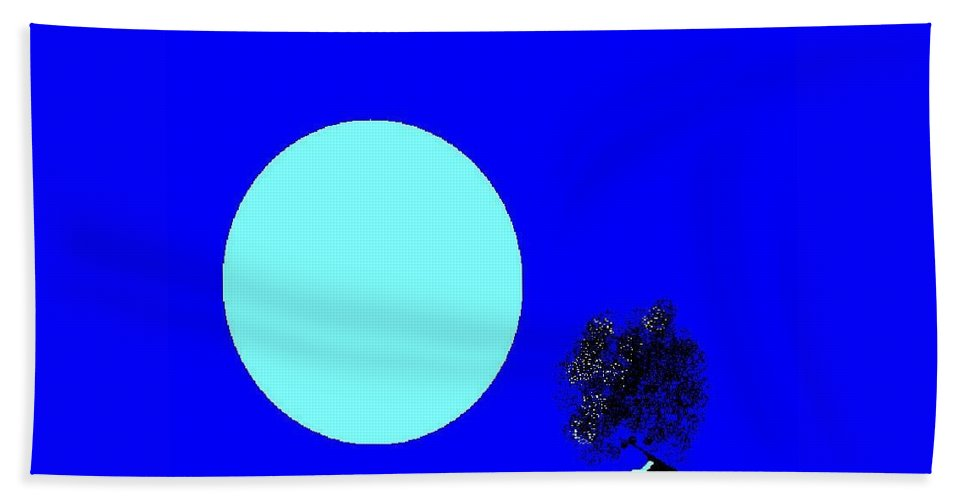 Blue Moon And Tree Hand Towel featuring the digital art Blue Moon And Tree by Enriquemontana Garcia