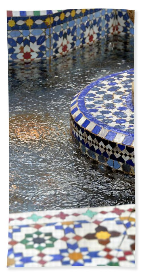 Photo Bath Sheet featuring the photograph Blue Mosaic Fountain I by Bonnie Myszka