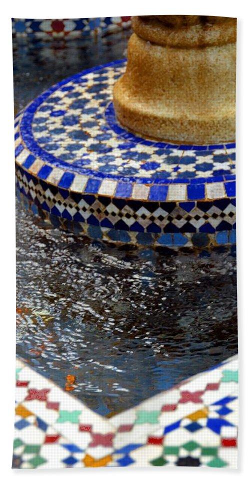 Photo Bath Sheet featuring the photograph Blue Mosaic Fountain II by Bonnie Myszka