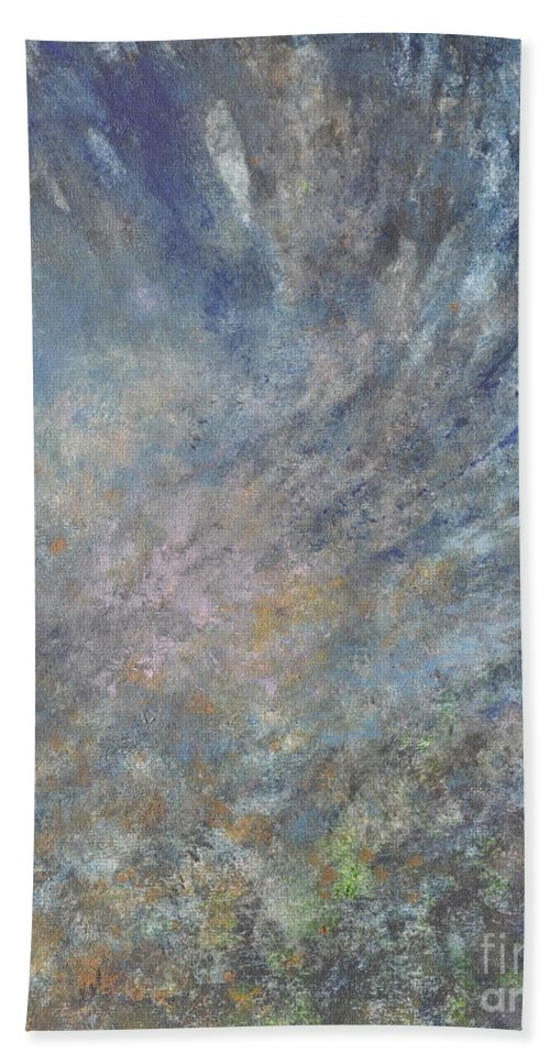 Abstract Hand Towel featuring the painting Blue Nebula #1 by Penny Neimiller
