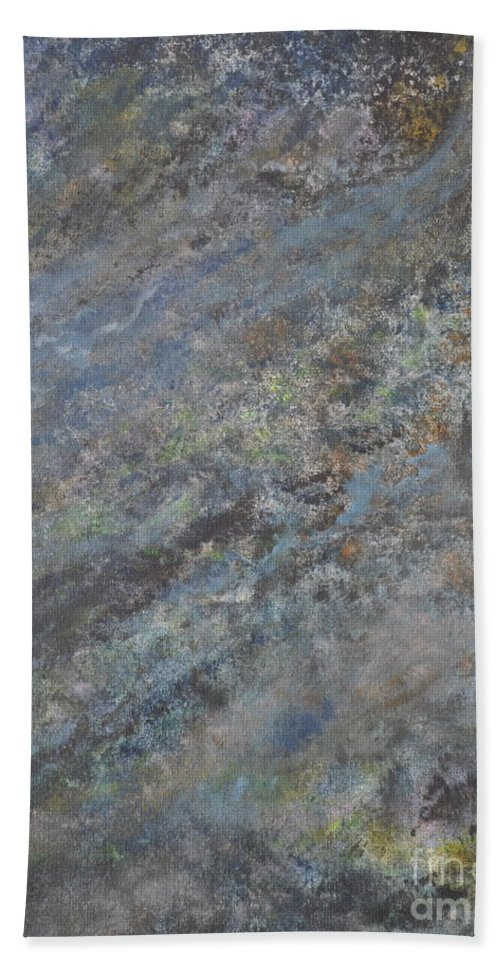 Blue Abstract Hand Towel featuring the painting Blue Nebula #2 by Penny Neimiller