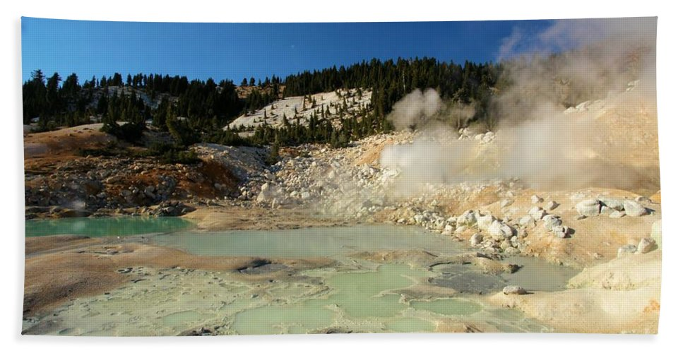 Lassen Volcanic National Park Bath Sheet featuring the photograph Blue Pools And Funaroles by Adam Jewell