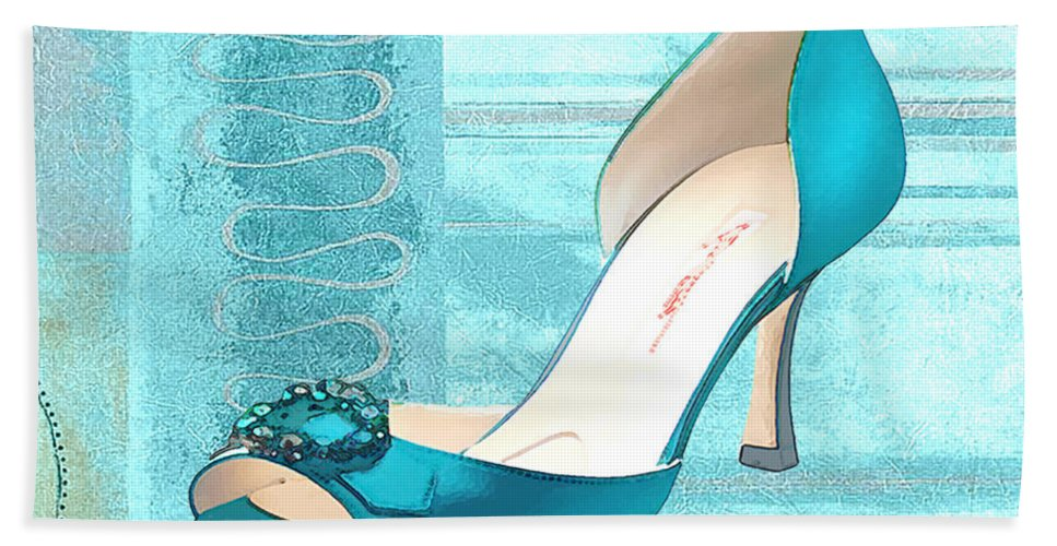 Shoes Heels Pumps Fashion Designer Feet Foot Shoe Hand Towel featuring the painting Blue Satin Ball Gown Pump by Elaine Plesser