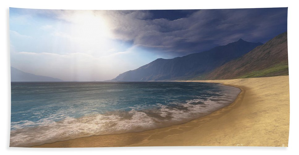 Beach Bath Sheet featuring the digital art Blue Seas And Radient Sun Shine In This by Corey Ford