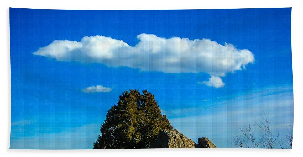Lanscape Bath Sheet featuring the photograph Blue Skies by Shannon Harrington