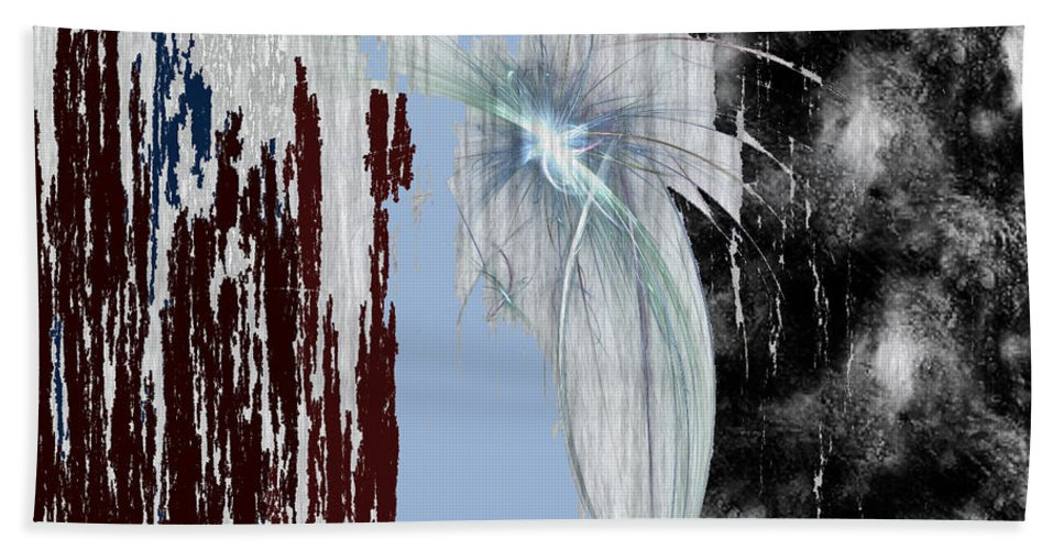Abstract Hand Towel featuring the digital art Blue Sky by Maciek Froncisz
