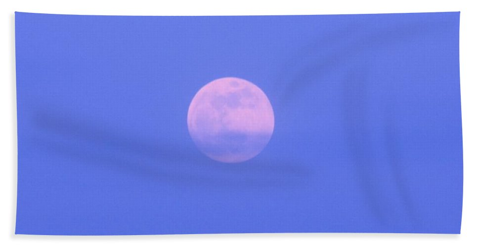 Moon Hand Towel featuring the photograph Blue Sky Moon by Michelle Powell