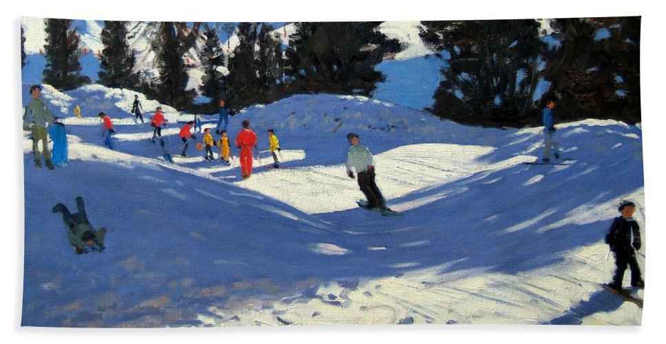 Sledging Hand Towel featuring the painting Blue Sledge by Andrew Macara