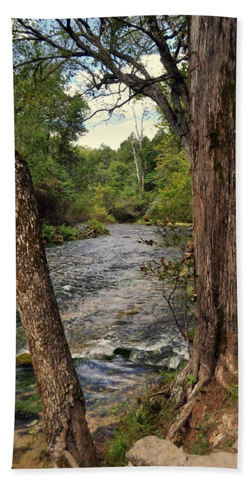 Stream Hand Towel featuring the photograph Blue Spring Branch by Marty Koch