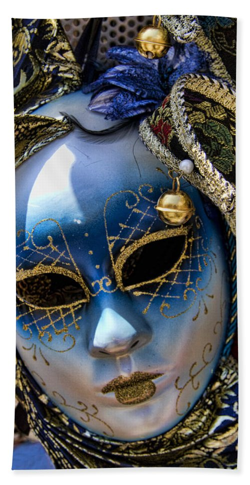 Blue Bath Sheet featuring the photograph Blue Venetian Mask by David Smith