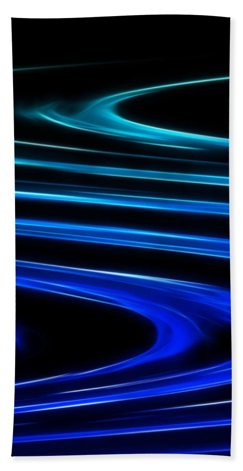Abstract Hand Towel featuring the digital art Blue Waves by Ricky Barnard