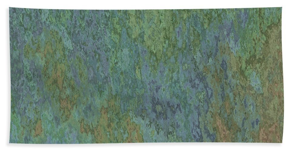 Abstract Bath Sheet featuring the digital art Bluegreen Stone Abstract by Debbie Portwood