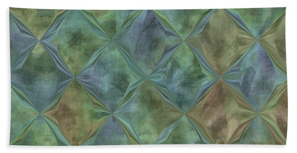 Abstract Bath Sheet featuring the digital art Bluetone Diamonds by Debbie Portwood