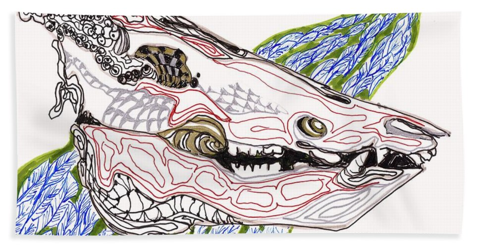 Ink Bath Sheet featuring the drawing Boar Skull Ink by Mary Schiros