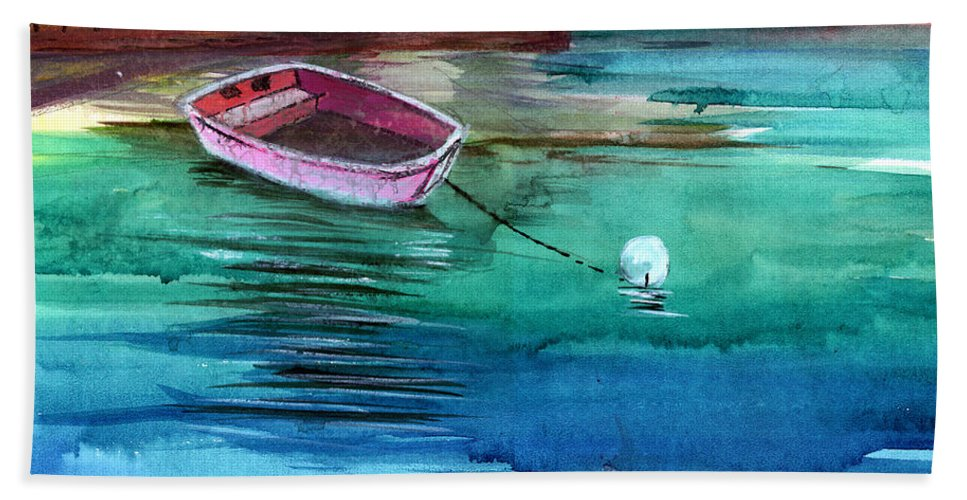 House Hand Towel featuring the painting Boat And The Buoy by Anil Nene
