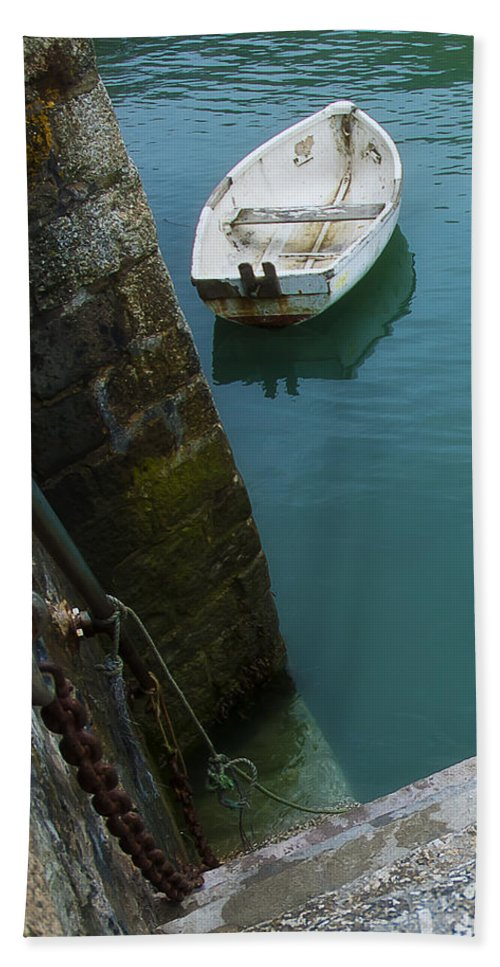Row Bath Sheet featuring the photograph Boat In The Harbor by Beth Riser