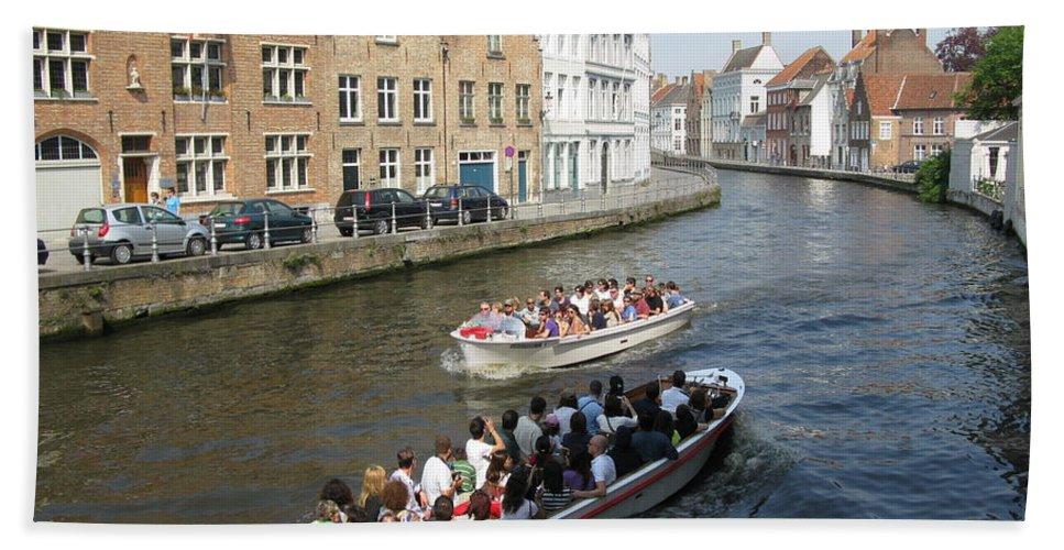 Brugge Bath Sheet featuring the photograph Boat Tours In Brugge Belgium by Ausra Huntington nee Paulauskaite