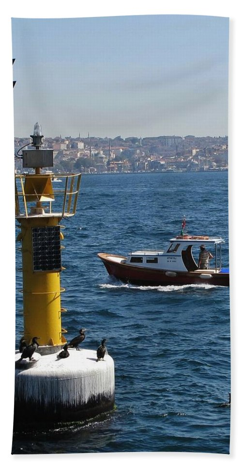 Istanbul Hand Towel featuring the photograph Boat Watchers by Ian MacDonald