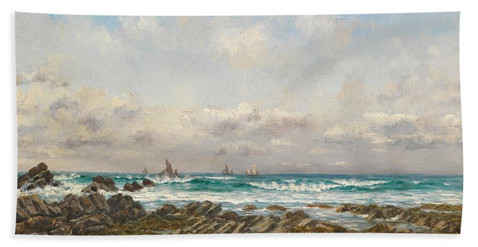 Seascape Bath Sheet featuring the painting Boats At Sea by William Lionel Wyllie