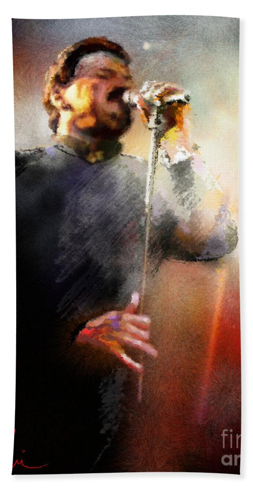 Musicians Hand Towel featuring the painting Bobby Kimball From Toto 01 by Miki De Goodaboom