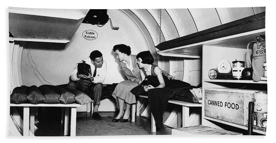 1955 Bath Sheet featuring the photograph Bomb Shelter, 1955 by Granger
