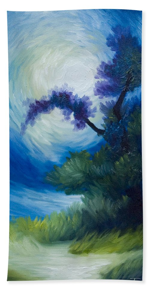 Nature Hand Towel featuring the painting Bonzai II by James Christopher Hill