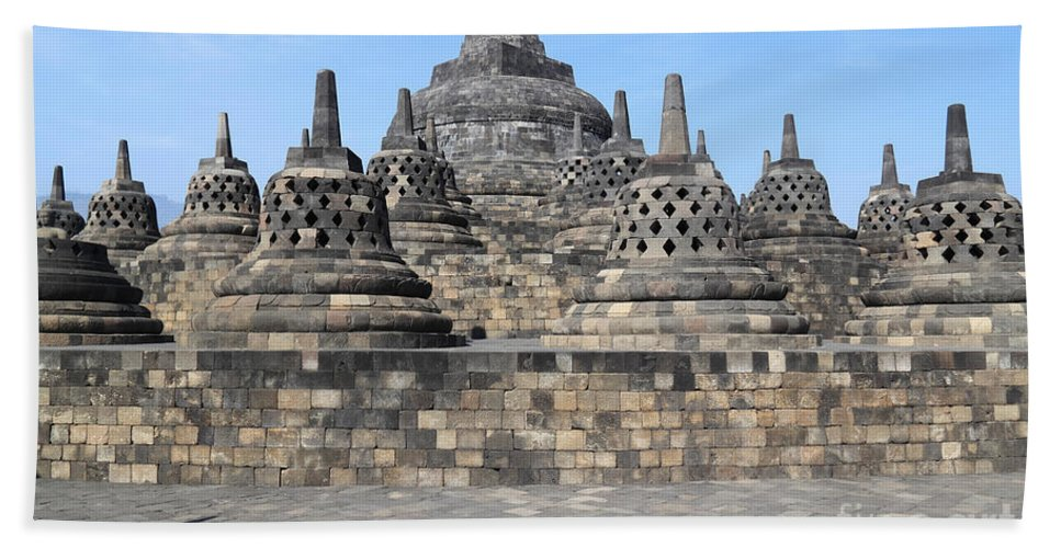 Travel Hand Towel featuring the photograph Borobudur Mahayana Buddhist Monument by Mark Taylor