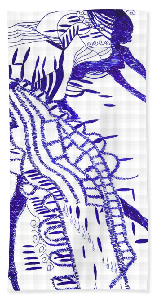 Jesus Bath Sheet featuring the drawing Botswana Dance by Gloria Ssali