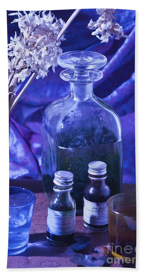 Perfume Hand Towel featuring the photograph Bottles Of Perfume Essence by Ilan Amihai