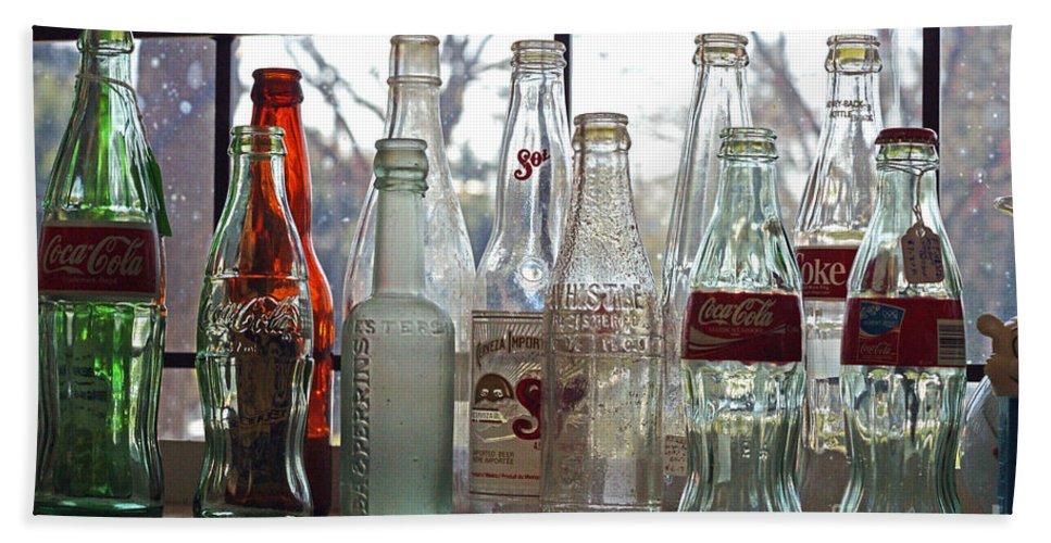 Bottles Bath Sheet featuring the photograph Bottles On The Shelf by Randy Harris