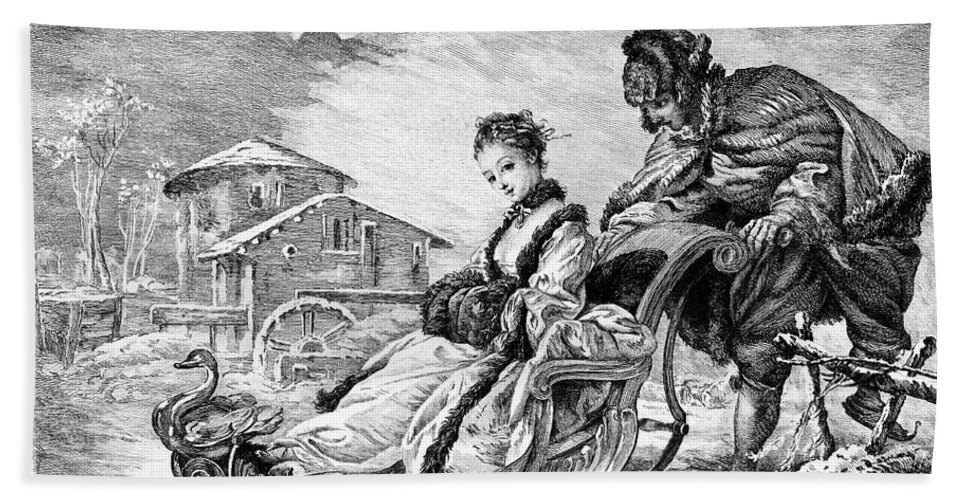 18th Century Hand Towel featuring the photograph Boucher: Winter Amusement by Granger