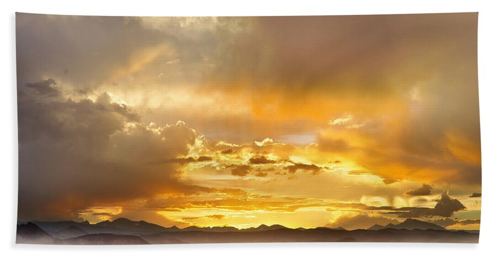 flagstaff Fire Bath Sheet featuring the photograph Boulder Colorado Flagstaff Fire Sunset View by James BO Insogna