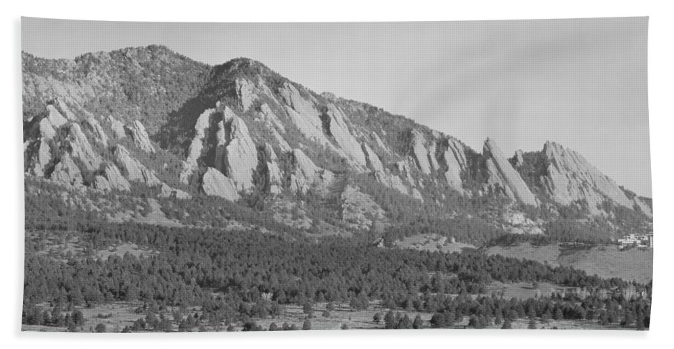 Boulder Hand Towel featuring the photograph Boulder Colorado Flatiron Scenic View With Ncar Bw by James BO Insogna
