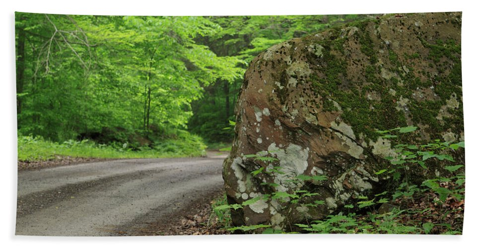 Dirt Road Bath Sheet featuring the photograph Boulder Rural Mountain Road Spring by John Stephens