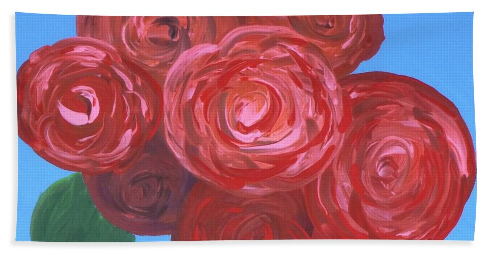 Mother's Day Hand Towel featuring the painting Bouquet Of Roses by Alys Caviness-Gober