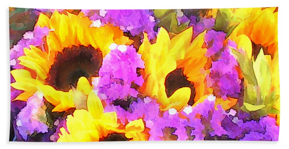 Flower Flowers Sunflower Statice Garden Flora Sunflowers Floral Nature Natural Bloom Blooms Blossoms Blossom Bouquet Arrangement Colorful Plant Plants Botanical Botanic Blooming Gardens Gardening Tropical Annual Annuals Perennial Perennials Bulb Bulbs Hand Towel featuring the painting Bouquet Of Sunflowers And Purple Statice by Elaine Plesser