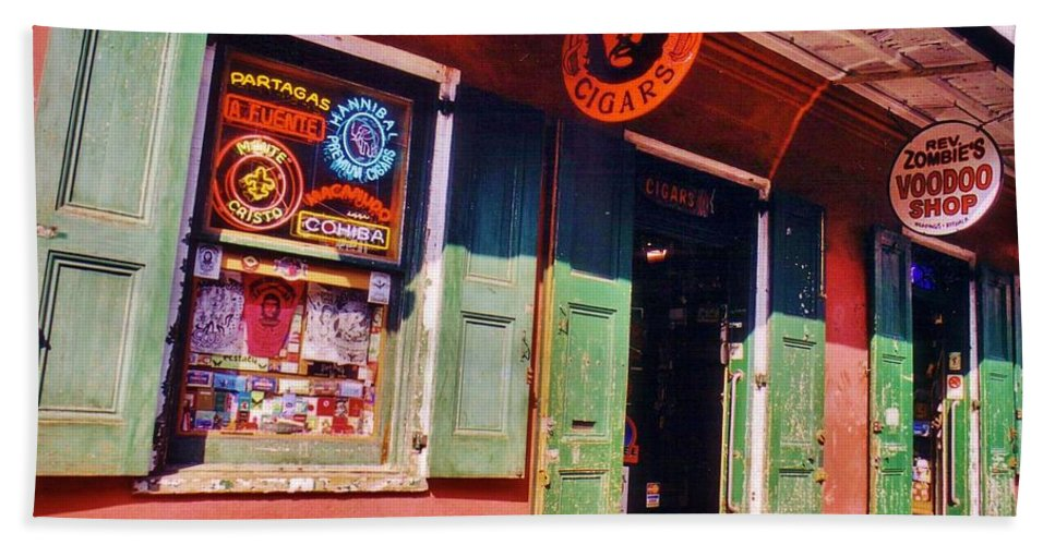 Store Fronts Hand Towel featuring the photograph Bourbon Stree Shops by John Malone