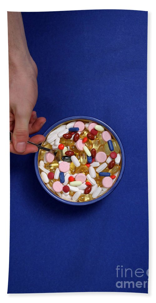 Bowl Hand Towel featuring the photograph Bowl Of Pills by Photo Researchers