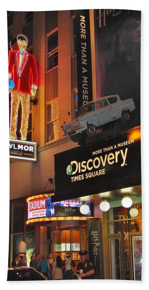 Times Square Bath Sheet featuring the photograph Bowlmor Lanes At Times Square by Margaret Bobb