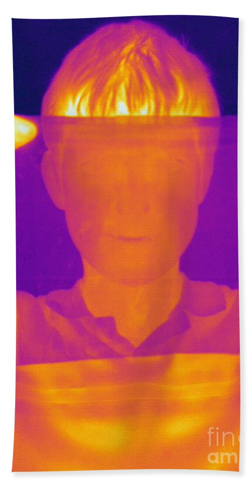 Thermogram Hand Towel featuring the photograph Boy Holding Black Plastic by Ted Kinsman
